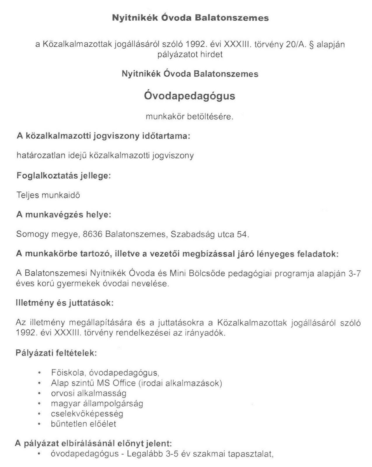 C3B3vodapedagC3B3gus ÁLLÁSLEHETŐSÉG - Óvodapedagógus
