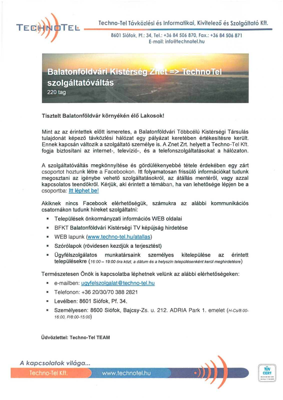 SKMBT C36020071413220 Szolgáltatóváltás (Znet -> Techno-Tel)