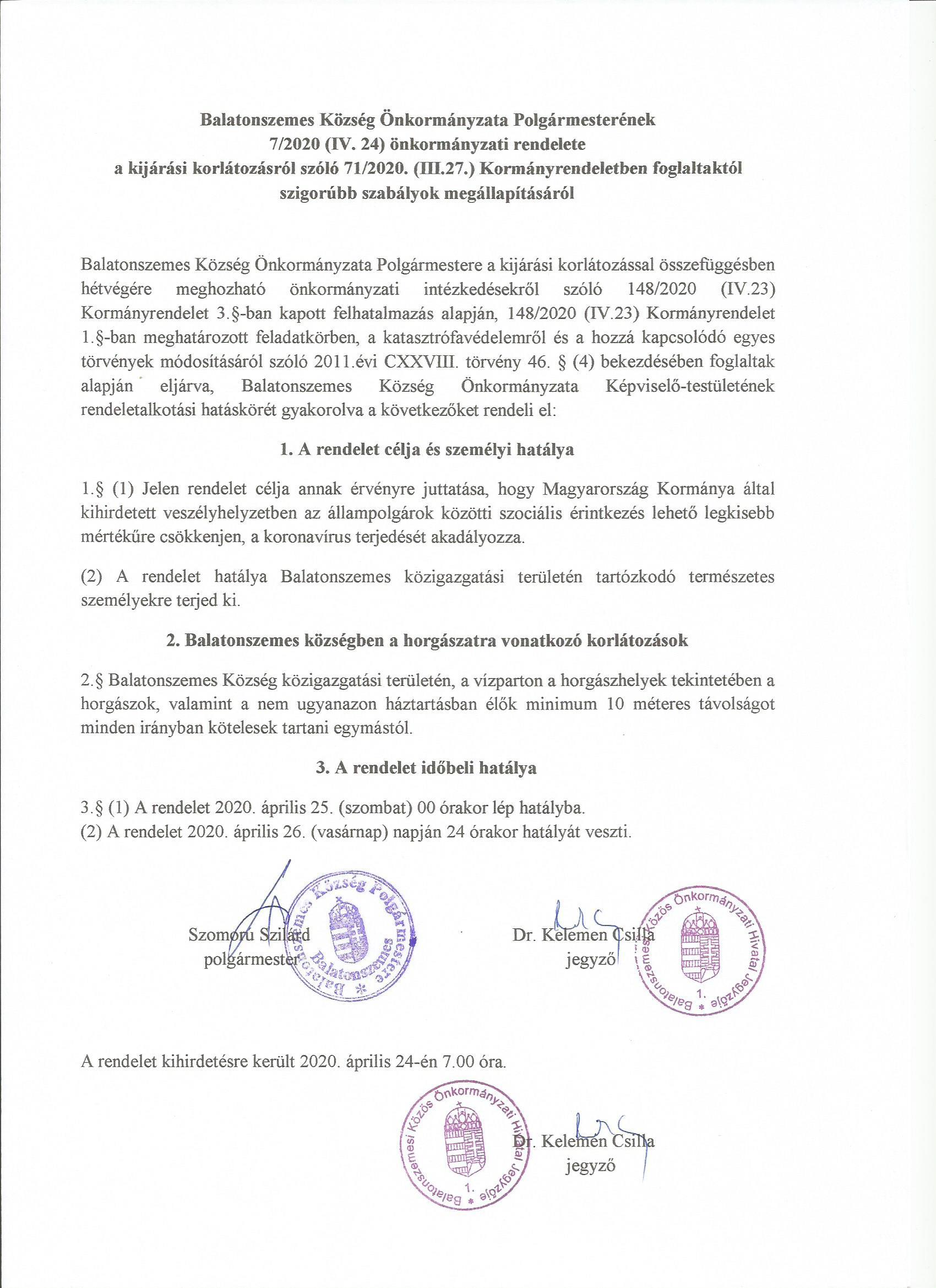 7 2020PMrendelet Tájékoztatás Balatonszemes községben a horgászatra vonatkozó korlátozásról